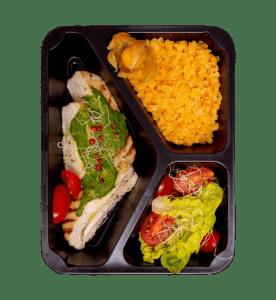 Posiłek diety pudełkowej bez glutenu i laktozy